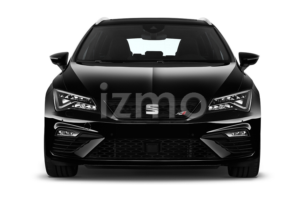 Car photography straight front view of a 2017 Seat Leon-ST-Cupra - 5 Door Wagon Front View