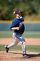 Atlanta Braves pitcher John Curtis (25) during a minor league Spring Training game against the Pittsburgh Pirates on March 13, 2018 at Pirate City in Bradenton, Florida.  (Mike Janes/Four Seam Images)