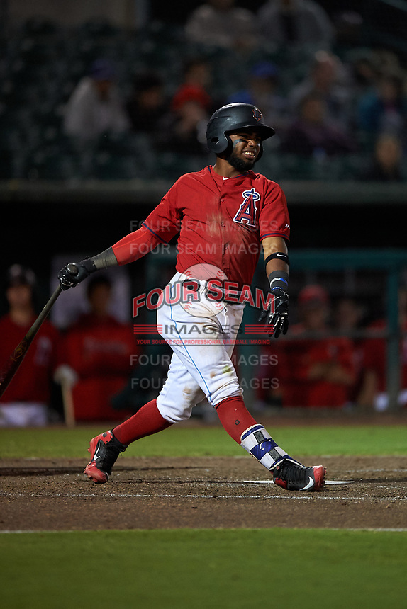 Inland Empire 66ers shortstop Luis Rengifo (3) follows through on his swing during a California League game against the Lancaster JetHawks at San Manuel Stadium on May 18, 2018 in San Bernardino, California. Lancaster defeated Inland Empire 5-3. (Zachary Lucy/Four Seam Images)