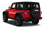 Car pictures of rear three quarter view of 2019 JEEP Wrangler Rubicon 5 Door SUV Angular Rear