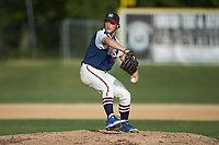 High Point-Thomasville HiToms relief pitcher Jacob Edwards (20) (UNC Asheville) in action against the Deep River Muddogs at Finch Field on June 27, 2020 in Thomasville, NC.  The HiToms defeated the Muddogs 11-2. (Brian Westerholt/Four Seam Images)
