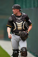 Pittsburgh Pirates catcher Eli Wilson (92) during a Minor League Spring Training intrasquad game on April 21, 2021 at Pirate City in Bradenton, Florida.  (Mike Janes/Four Seam Images)