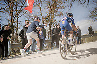 Julian ALAPHILIPPE (FRA/Deceuninck-Quick Step) conquering the last gravel section before entering Siena<br /> <br /> 13th Strade Bianche 2019 (1.UWT)<br /> One day race from Siena to Siena (184km)<br /> <br /> ©kramon