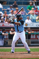 Syracuse Chiefs designated hitter Kevin Keyes (34) at bat during a game against the Pawtucket Red Sox on July 6, 2015 at NBT Bank Stadium in Syracuse, New York.  Syracuse defeated Pawtucket 3-2.  (Mike Janes/Four Seam Images)