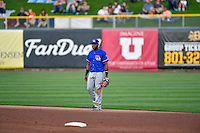 Hanser Alberto (8) of the Round Rock Express on defense against the Salt Lake Bees in Pacific Coast League action at Smith's Ballpark on August 13, 2016 in Salt Lake City, Utah. Round Rock defeated Salt Lake 7-3.  (Stephen Smith/Four Seam Images)