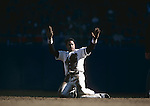 BRONX, NY - 1981:  Dave Winfield of the New York Yankees finishes a slide to second base at Yankee Stadium in Bronx, New York in 1981.  (Photo by Rich Pilling)
