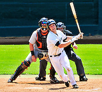 15 July 2010: Vermont Lake Monsters' infielder Ronnie LaBrie in action against the Aberdeen IronBirds at Centennial Field in Burlington, Vermont. The Lake Monsters rallied in the bottom of the 9th inning to defeat the IronBirds 7-6 notching their league leading 20th win of the 2010 NY Penn League season. Mandatory Credit: Ed Wolfstein Photo