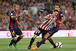Barcelona´s Mascherano and Sergio Busquets and Athletic de Bilbao´s Aritz Aduriz during 2014-15 Copa del Rey final match between Barcelona and Athletic de Bilbao at Camp Nou stadium in Barcelona, Spain. May 30, 2015. (ALTERPHOTOS/Victor Blanco)