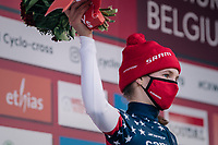 US Champion & runner-up Clara Honsinger (USA/Cannondale-Cyclocrossworld) on the podium<br /> <br /> Women's Race<br /> UCI Cyclocross World Cup Namur 2020 (BEL)<br /> <br /> ©kramon