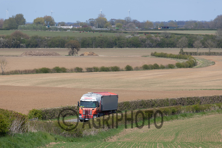26-4-2021 Grain lorry being loaded with feed wheat leaving the farm<br /> ©Tim Scrivener Photographer 07850 303986<br />      ....Covering Agriculture In The UK....