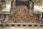 Angkorian temple Banteay Srei (late 10th century) 967.<br /> Gopura III. East facing pediment showing Sita being seized by the demon Viradha.<br /> Banteay Srei temple is situated 20km north of Angkor, built during the reign of Rajendravarman by Yajnavaraha, one of his counsellors. In antiquity Isvarapura was a small city that grew up around the temple. Banteay Srei was dedicated to the worship of Shiva, the foundation stele describes the consecration of the linga Tribhuvanamahesvara (Lord of the three worlds) in 967.