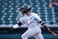Mesa Solar Sox Jo Adell (25), of the Los Angeles Angels organization, at bat during an Arizona Fall League game against the Yaquis de Obregon as part of the Mexican Baseball Fiesta on September 29, 2019 at Sloan Park in Mesa, Arizona. Mesa defeated Obregon 7-0. (Zachary Lucy/Four Seam Images)
