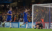Oscar of Chelsea celebrates scoring from the penalty spot during the UEFA Champions League match between Chelsea and Maccabi Tel Aviv at Stamford Bridge, London, England on 16 September 2015. Photo by Andy Rowland.