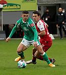 17.10.2020, Schwarzwald Stadion, Freiburg, GER, 1.FBL, RB Leibzig vs SV Werder Bremen<br /><br />im Bild / picture shows<br />Milot Rashica (Bremen), Nicolas Höfler (Freiburg)<br /><br />Foto © nordphoto / Bratic<br /><br />DFL REGULATIONS PROHIBIT ANY USE OF PHOTOGRAPHS AS IMAGE SEQUENCES AND/OR QUASI-VIDEO.