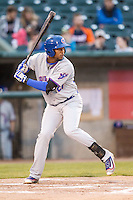 South Bend Cubs designated hitter Eloy Jimenez (27) at bat against the Lansing Lugnuts on May 12, 2016 at Cooley Law School Stadium in Lansing, Michigan. Lansing defeated South Bend 5-0. (Andrew Woolley/Four Seam Images)