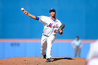 New York Mets pitcher Hansel Robles #67 delivers a pitch during an exhibition game against the Michigan Wolverines at Tradition Field on February 24, 2013 in Port St Lucie, Florida.  New York defeated Michigan 5-2.  (Mike Janes/Four Seam Images)