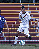Boston College defender Stefan Carter (23) on the wing. Boston College defeated University of Rhode Island, 4-2, at Newton Campus Field, September 25, 2012.