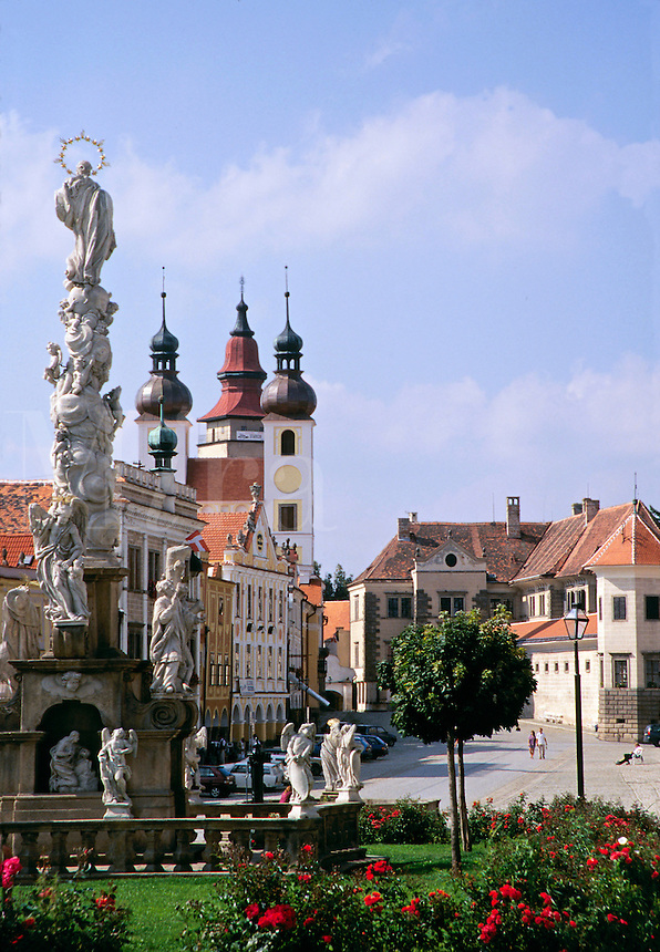 Zacharias Square. largely rebuilt in renaissance style after the fire of 1530, is in one of the most beautiful towns in the Telc, Czech Republic