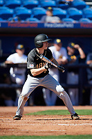 Army West Point Tim Simoes (8) squares to bunt during a game against the Michigan Wolverines on February 18, 2018 at First Data Field in St. Lucie, Florida.  Michigan defeated Army 7-3.  (Mike Janes/Four Seam Images)