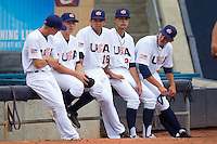 The Team USA bullpen at Durham Bulls Athletic Park July 18, 2010, in Durham, North Carolina.  Photo by Brian Westerholt / Four Seam Images