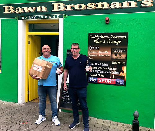 Ilen crewman Mike Grimes (right) still has to ensure that the consignment of Treaty City Thomond Red Ale from Limerick completes its journey to Paddy Bawn Brosnan