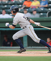 Infielder Rob Lyerly (16) of the Charleston RiverDogs in a game against the Greenville Drive on Aug. 24, 2010, at Fluor Field at the West End in Greenville, S.C. Photo by: Tom Priddy/Four Seam Images