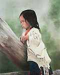 """A young shy Sioux girl looks on with a guarded expression, a Native American child portrait. Oil on canvas, 16"""" x 20""""."""