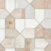 Maxfield, a hand-cut stone mosaic, shown in polished Afyon White, Desert Pink, and Cloud Nine, is part of the Semplice® collection for New Ravenna.