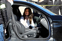 Actress Hayley Atwell in a car on the set of the film Mission Impossible 7 at Imperial Fora in Rome. <br /> Rome (Italy), November 21st 2020<br /> Photo Samantha Zucchi Insidefoto