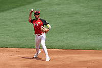 Team USA shortstop JP Crawford (3) throws to first base during the MLB All-Star Futures Game on July 12, 2015 at Great American Ball Park in Cincinnati, Ohio.  (Mike Janes/Four Seam Images)