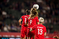 CARSON, CA - FEBRUARY 07: Christine Sinclair #12, Jordyn Huitema #9 and Sophie Schmidt #13 of Canada all leap high for a head shot during a game between Canada and Costa Rica at Dignity Health Sports Complex on February 07, 2020 in Carson, California.