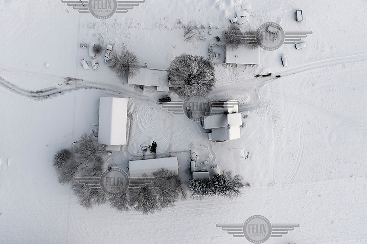 An aerial view of a farm in Kashubia.