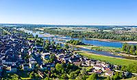 France, Nievre, Val de Loire Natural Reserve, Pouilly sur Loire, village and Loire River (aerial view) //  France, Nièvre (58), Réserve Naturelle du Val de Loire, Pouilly-sur-Loire, village et la Loire (vue aérienne)