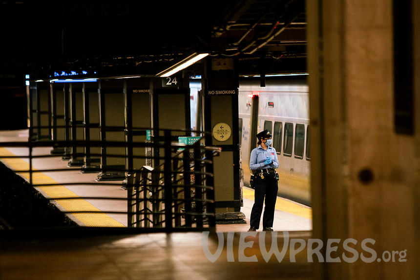 NEW YORK, NY - MAY 21:  MTA worker is seen at the tracks in Grand Central Terminal during the outbreak of the COVID-19 pandemic on May 21, 2020 in New York City. The number of transit workers killed by the coronavirus is at least more than 123, the agency revealed Wednesday. (Photo by Eduardo MunozAlvarez/VIEWpress)