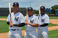 GCL Yankees West (L-R) David Vergel, Gustavo Campero, and Samuel De La Cruz after the second game of a doubleheader against the GCL Yankees East on July 19, 2017 at the Yankees Minor League Complex in Tampa, Florida.  GCL Yankees West defeated the GCL Yankees East 3-1.  (Mike Janes/Four Seam Images)