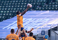 1st May 2021; Recreation Ground, Bath, Somerset, England; European Challenge Cup Rugby, Bath versus Montpellier; Yacouba Camara of Montpellier wins the lineout ball