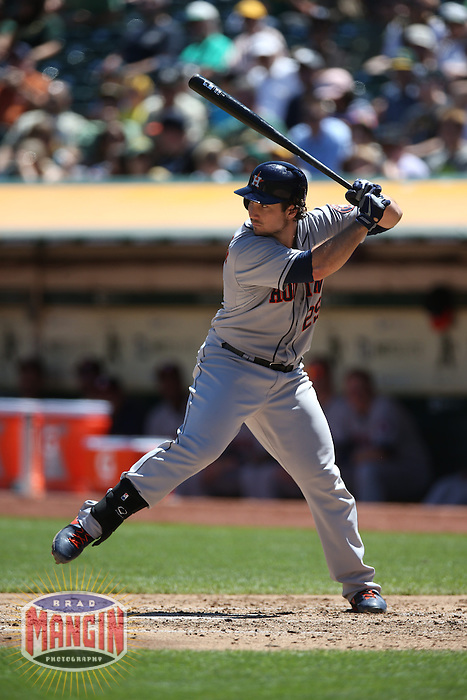 OAKLAND, CA - AUGUST 15:  Brett Wallace #29 of the Houston Astros bats against the Oakland Athletics during the game at O.co Coliseum on Thursday, August 15, 2013 in Oakland, California. Photo by Brad Mangin