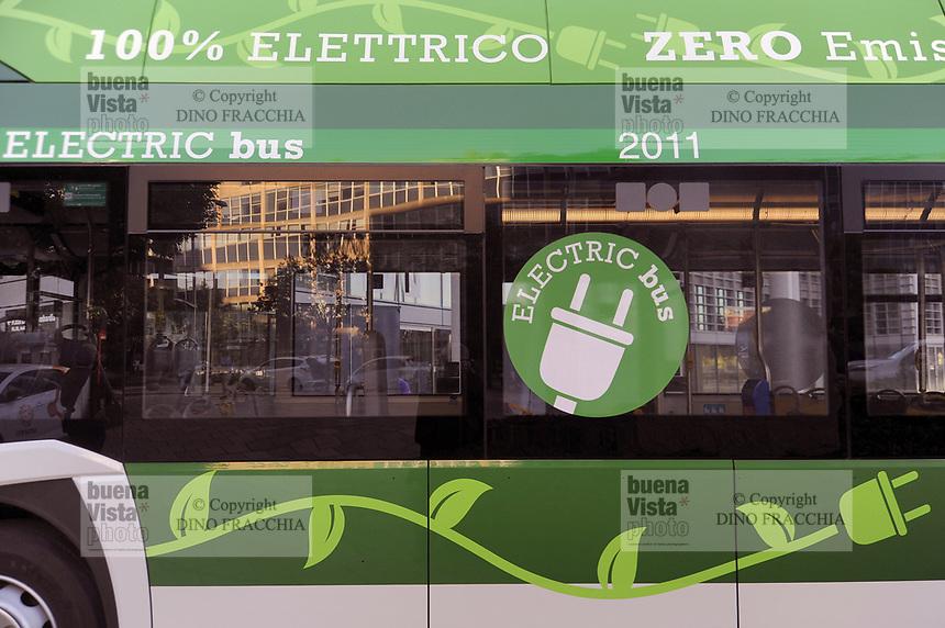 """- Milano, primo raduno internazionale dei veicoli elettrici """"E_mob2018 è  tempo di ricarica!"""". Autobus elettrico per il trasporto urbano<br /> <br /> - Milan, the first international meeting of electric vehicles """"E_mob2018 is charging time!"""". Electric bus for urban transport"""