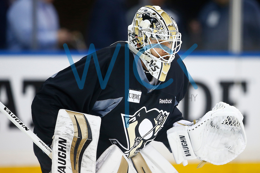 Matt Murray #30 of the Pittsburgh Penguins waits for a shot during morning skate at Madison Square Garden in New York City on April 19, 2016. (Photo by Jared Wickerham / DKPS)