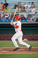 Auburn Doubledays right fielder Pablo O'Connor (28) at bat during a game against the Lowell Spinners on July 13, 2018 at Falcon Park in Auburn, New York.  Lowell defeated Auburn 8-5.  (Mike Janes/Four Seam Images)