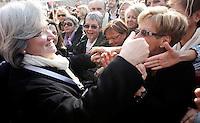 """""""Se non ora quando?"""": manifestazione contro il presidente del consiglio, per il rispetto della dignita' e dei diritti delle donne, a Roma, 13 febbraio 2011. La deputata Rosi Bindi saluta le manifestanti..Women attend the """"If not now, when?"""" rally against the Italian premier, to ask for respect of their dignity and rights, in Rome, 13 february 2011. Italian lawmaker Rosi Bindi greets demonstrators..UPDATE IMAGES PRESS/Riccardo De Luca"""