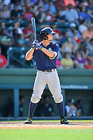 Third baseman David Thompson (8) of the Columbia Fireflies bats in a game against the Greenville Drive on Sunday, May 8, 2016, at Fluor Field at the West End in Greenville, South Carolina. Greenville won, 5-4. (Tom Priddy/Four Seam Images)