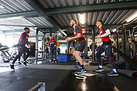 Luciano Narsingh, Mike van der Hoorn and Andy King of Swansea City exercise in the gym during the Swansea City Training at The Fairwood Training Ground, Swansea, Wales, UK. Wednesday 07 March 2018