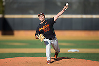 Miami Hurricanes starting pitcher Andrew Suarez (30) in action against the Wake Forest Demon Deacons at Wake Forest Baseball Park on March 21, 2015 in Winston-Salem, North Carolina.  The Hurricanes defeated the Demon Deacons 12-7.  (Brian Westerholt/Four Seam Images)