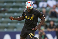 CARSON, CA - MAY 8: Jesús David Murillo #94 of LAFC heads a ball during a game between Los Angeles FC and Los Angeles Galaxy at Dignity Health Sports Park on May 8, 2021 in Carson, California.
