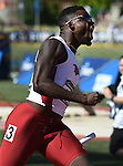12 JUNE 2015: Marqueze Washington of Arkansas celebrates after crossing the finish line to lead Arkansas to the National Championship in the Men's 4 X 100 meter relay during the Division I Men's and Women's Outdoor Track & Field Championship held at Hayward Field in Eugene, OR.  Arkansas won the race in a time of 38.47. Steve Dykes/ NCAA Photos