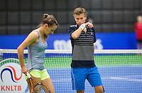 December 16, 2014, Rotterdam, Topsport Centrum, Lotto NK Tennis, Doubles Demi Schuurs (R) and Olga Kalyuzhnaya (NED)<br /> Photo: Tennisimages/Henk Koster