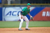Cole Daily (6) of the Notre Dame Fighting Irish on defense against the Florida State Seminoles in Game Four of the 2017 ACC Baseball Championship at Louisville Slugger Field on May 24, 2017 in Louisville, Kentucky. The Seminoles walked-off the Fighting Irish 5-3 in 12 innings. (Brian Westerholt/Four Seam Images)