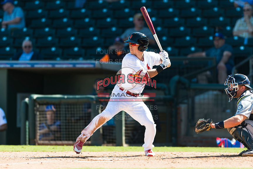 Surprise Saguaros shortstop Tommy Edman (18), of the St. Louis Cardinals organization, at bat during an Arizona Fall League game against the Peoria Javelinas at Surprise Stadium on October 17, 2018 in Surprise, Arizona. (Zachary Lucy/Four Seam Images)