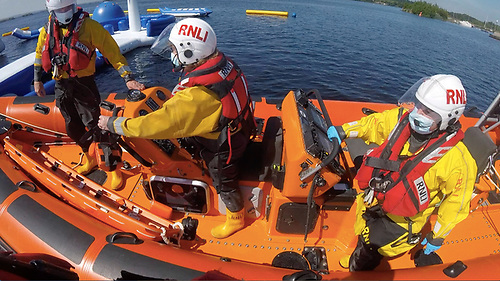 Lough Derg RNLI lifeboat crew launch for the medical emergency